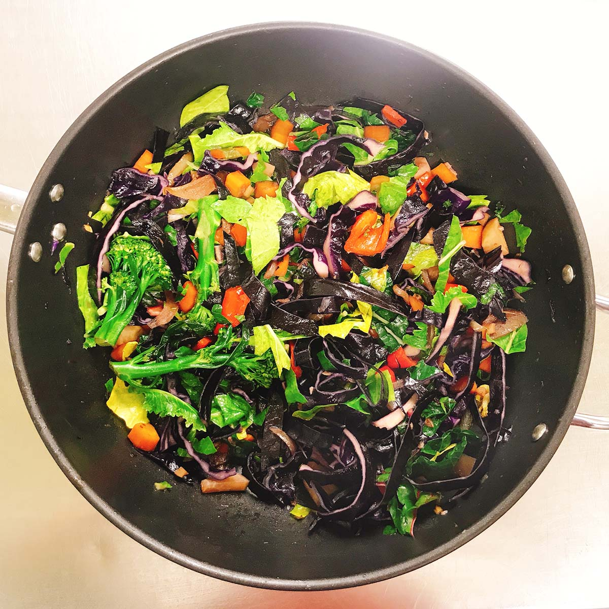 rainbow stir fry in wok