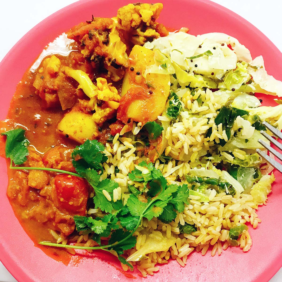 potato and cauliflower curry on pink plate with rice and cabbage