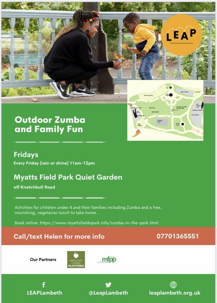 zumba in the park poster with woman and little boy looking at leaf
