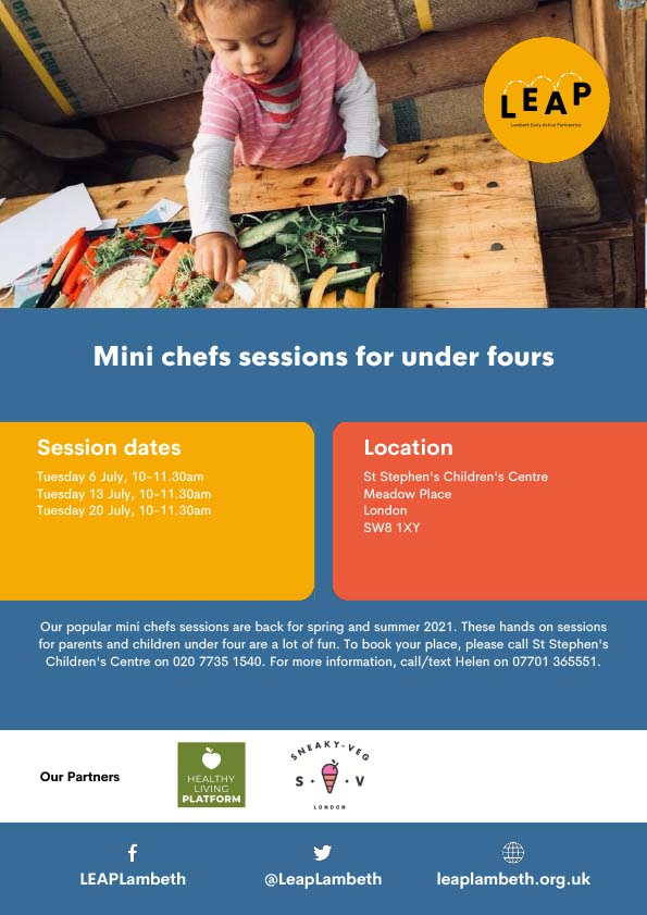 poster advertising mini chefs sessions