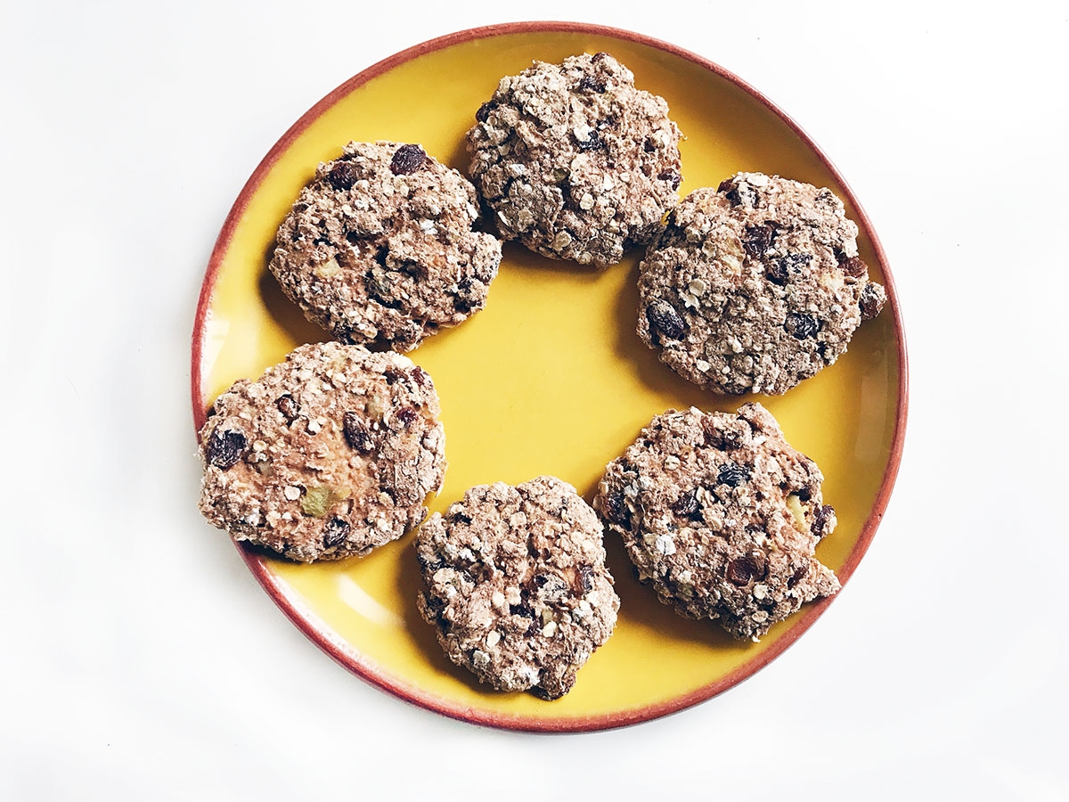healthier christmas cookies on yellow plate